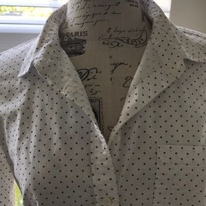 J. Crew Boy Fit Shirt White w Black Dots Sz 6 EUC